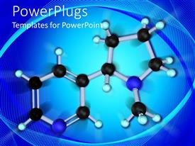 PPT theme enhanced with molecule structure with black light blue and dark blue molecules, molecular structure on blue background