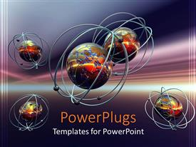 PPT layouts consisting of molecules and atoms in purple background