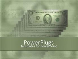 Elegant presentation enhanced with money one hundred dollar bills green background stacks of money