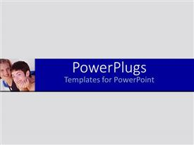 Elegant PPT theme enhanced with montage of two young smiling ladies on Grey and blue background