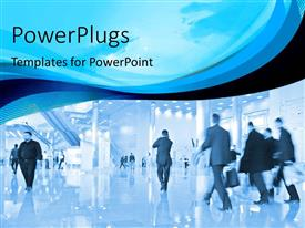 PPT theme with mordern office building with busy business men hurrying to work