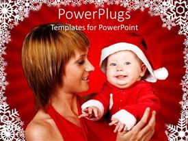 Colorful PPT theme having a mother and her baby wearing a christmas cap