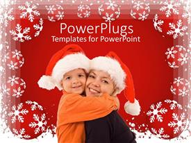Amazing PPT layouts consisting of a mother with her child celebrating Christmas
