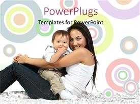 Slide deck featuring a mother with her child and colorful background