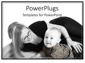 Presentation theme featuring a mother with her child with white background