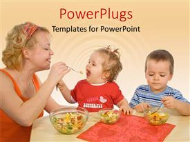 Colorful theme having mother and children eating healthy food with yellow color