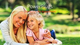 Amazing presentation theme consisting of mother and daughter lying down on grass field happily smiling