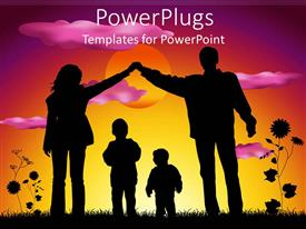 PPT layouts consisting of mother and father making heart silhouette over two children sunset background