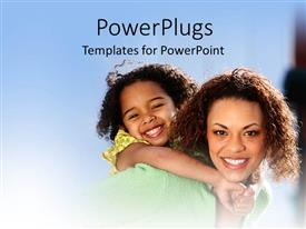 PPT theme consisting of a mother with her kid and bluish background