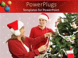 Theme enhanced with mother and son wearing Santa hats decorate Christmas tree