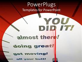 Beautiful PPT layouts with motivational speedometers showing progress from start to 'you did it'