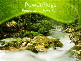 PPT theme consisting of mountain stream rushing over rocks, white water