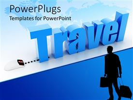 Elegant presentation theme enhanced with a mouse connected to a word travel