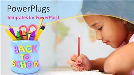 Audience pleasing presentation design featuring back to school depiction with little girl writing with pencil