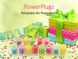 Audience pleasing slide set featuring multi color happy birthday candles and gift box sets in the background