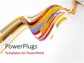 Colorful PPT theme having multi color technology waves with light grey
