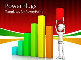 Amazing slides consisting of multi colored bar chart with an animated figure raising up a short red bar