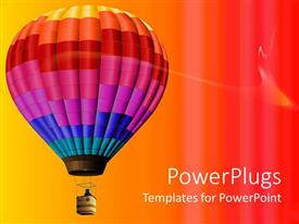 PPT theme with multi colored hot air balloon flying in colorful background