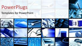Presentation theme consisting of multi panel image with different technology devices