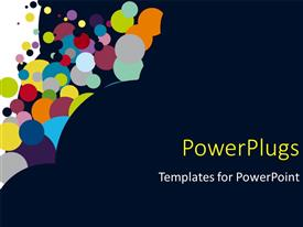 Elegant PPT theme enhanced with multicolored circles rising up from dark background