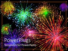Slides featuring multicolored fireworks light up night sky, red, green, yellow, purple