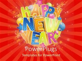 Presentation having multicolored Happy New Year on red striped background