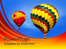 PPT layouts consisting of multicolored hot air balloons drifting across clear blue sky