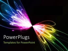 PPT theme with multicolored lights with blackish background and place for text
