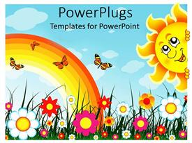 Theme featuring multiple colorful flowers with rainbow, butterflies and smiling sun