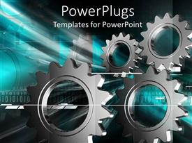 Elegant presentation theme enhanced with multiple metallic gray gear displayed on industrial related background