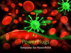 Elegant presentation design enhanced with multitude of red cells and green viruses on dark background