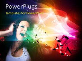 PPT theme with music depiction with young lady on headphone sings with music symbols