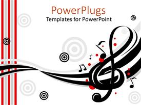 PPT theme consisting of music instruments treble clef target song white background musician