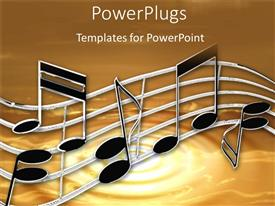 Presentation theme with music notes and sheets on a tan background
