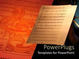 Slide deck with music sheet with notes next to bigger 3D sheet with notes