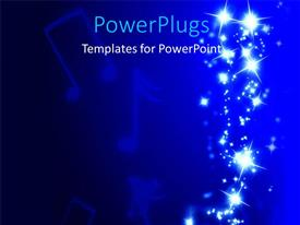 Elegant presentation theme enhanced with music symbols in blue background with bright shinny lights