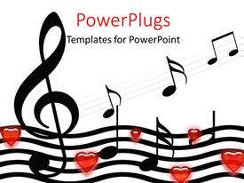 Elegant presentation theme enhanced with music symbols and hearts over white background