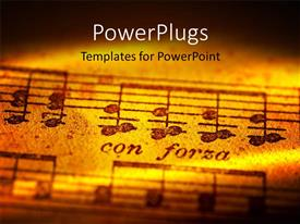 PPT theme featuring musical notes with creative lighting