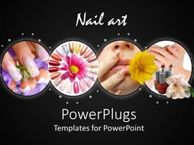 PPT theme having nail art finger painting make up female black background
