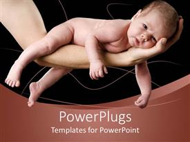Presentation theme with naked baby lying on grown-ups arm
