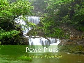 Amazing presentation design consisting of nature waterfall green forest trees water lush environment