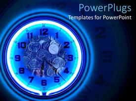 Slide set featuring neon blue clock with coins on a black background