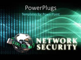 Beautiful slide deck with network Security concept with locked 3D globe and keyword