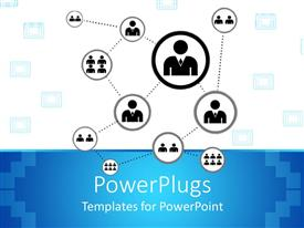 PPT theme enhanced with networking metaphor with people connected, blue and white background