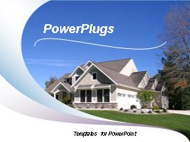 PPT layouts enhanced with new construction house with wave pattern background