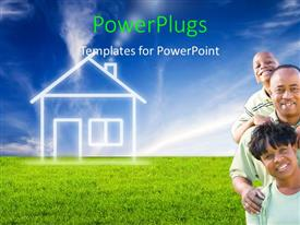 PPT theme enhanced with a happy family with a house in the background