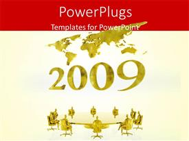 Amazing PPT theme consisting of new year 2009 with world map and business people having round table meeting