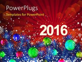 Beautiful PPT theme with new Year 2016 with decoration of christmas balls and snowflakes