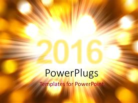 Audience pleasing presentation theme featuring new Year 2016 with glowing rays and lights from the background