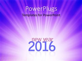 PPT layouts featuring new year 2016 text on abstract blue rays background